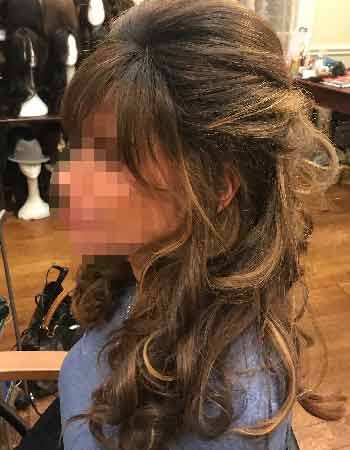 brown wig,wig with highlights,natural wig,soft looking wig,long island wigs,human hair wigs,best wigs NYC,Wavy Curly Hair,